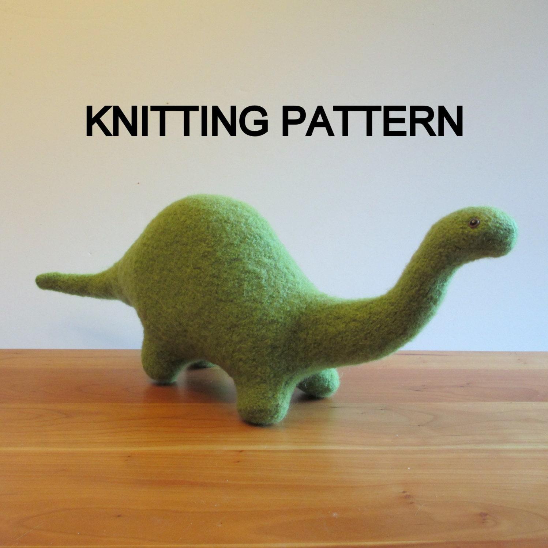 Brontosaurus Dinosaur Knitting Pattern Apatosaurus Felted