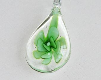1 piece of  Green lampwork teardrop pendant 16x32mm
