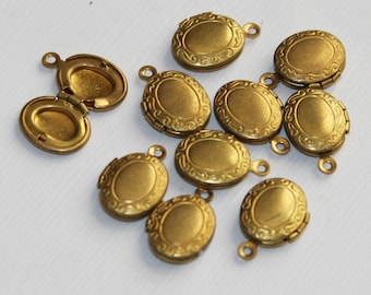 10 pcs of solid brass Oval Locket Pendant 11x13mm