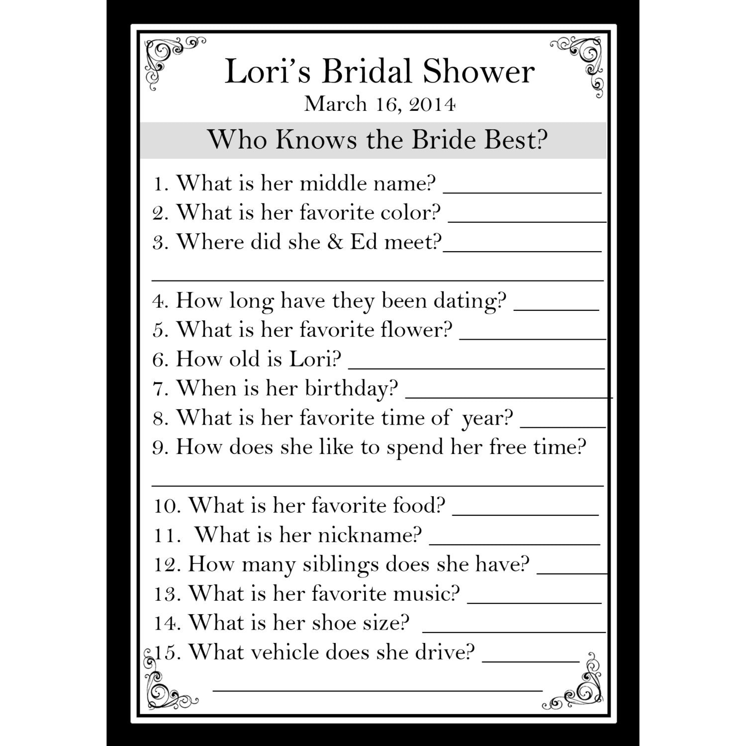24 Personalized Bridal Shower Game Cards Who Knows The Bride