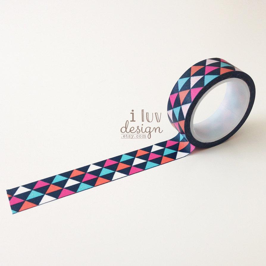Geometric triangles washi tape geometric decorative tape for Geometric washi tape designs