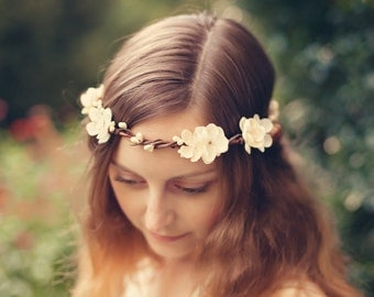 Bridal hair crown, Boho Wedding wreath, Flower head piece, Woodland wedding garland, Harvest head wreath, Ivory floral circlet - MAIDEN