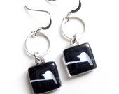 Black and white bird on wire earrings  - Hand painted glass by azurine -