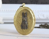 Vintage Locket Necklace. Bunny Rabbit On Oval Brass Locket Necklace. Photo Locket Antiqued Brass Chain Necklace Message Photo Locket