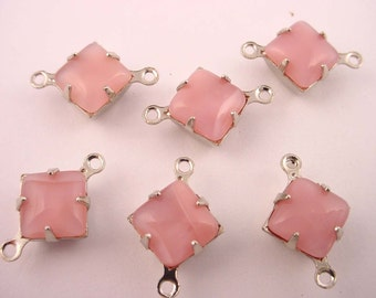 6 Vintage Pink Moonstone Glass Square Charms 8mm connectors 2  Ring silver setting
