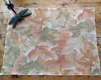 Silky Large Leaf Pattern Placement In Pale Shades of Autumn