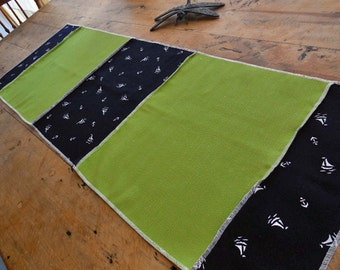 20% Sale, Coupon Code 47474.  Vibrant Table Runner in Heavy LInen with a Nautical Theme In Lime Green, Navy And White