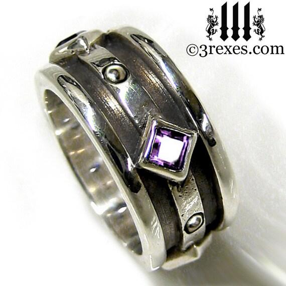Silver Wedding Ring Purple Amethyst Stone Moorish Gothic Sterling Engagement Band Size 7