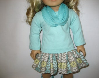 American Girl Doll Clothes - Aqua and Gray Skirt Outfit