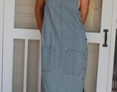 Vintage 1980's Plaid/Pinstripe Button Sided Blue Jean Jumper Dress