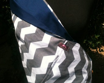 Baby Sling  Baby Carrier - Gray Chevron Navy Lining - Second Item Ships Free