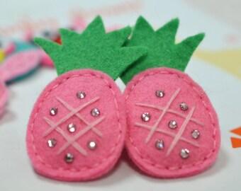 Set of 6pcs handmade felt puffy pineapple--dark carnation (FT920)