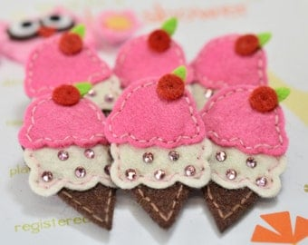 Set of 6pcs handmade felt ice cream w/ swarovski crystal--dark carnation (FT2152)