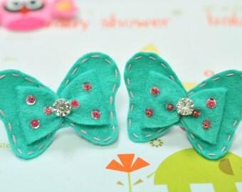 New! Set of 6pcs handmade felt bow with rhinestone--tro. turquoise (FT1021)