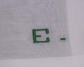 Vintage White Hanky With a Green Initial E - Handkerchief Hankie