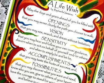 A LIFE WISH 8x11 Inspirational Quote Graduation Poster Original Poem College Decor Motivational Print Heartful Art by Raphaella Vaisseau