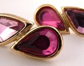 Light And Dark Pink Vintage Post Earrings, Pink Teardrop Studs, Pink Post Earrings, Retro Statement Earrings, Two Tone Pink Posts (E130)