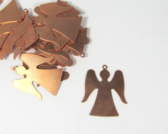 Angel blank of 22 gauge copper 10 pack As gift tag detail with piercing  for stamping, earrings, pendants lovley