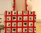 Book Bag Tote Purse - Cats with Red
