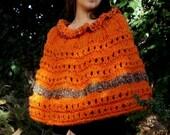 Poncho orange knit poncho capelet poncho shoulder warmer gypsy alpaca wool poncho rustic bulky boho knit autumn fall fashion women poncho