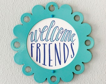 letterpress welcome friends print in steel frame