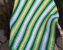 Vintage 1970s Era Green, Yellow and White Hand Crochet Afghan/Lap Throw