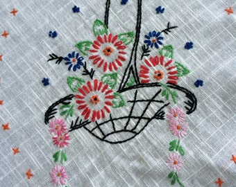 Vintage White Hand Embroidery Flower Baskets Table Runner/Dresser Scarf with Blue Hand Crochet Trim