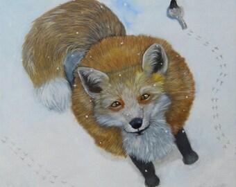 "Fox and Chickadee OOAK Oil Painting 20"" x 20"""