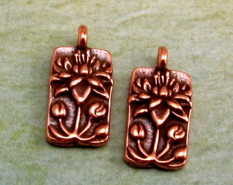 Floating Lotus Charm, Antique Copper, TierraCast, 2 Pc. TC57