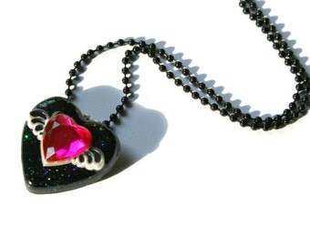 Winged Heart Necklace, Black Pink Resin, Kawaii Glitter Jewelry, Heart w Wings