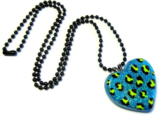 Leopard Print Necklace, Neon Blue Heart, Resin Jewelry, Kawaii Kitsch