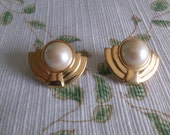 Monet Faux Pearl and Goldtone Post Earrings with Gold Bands around half of it