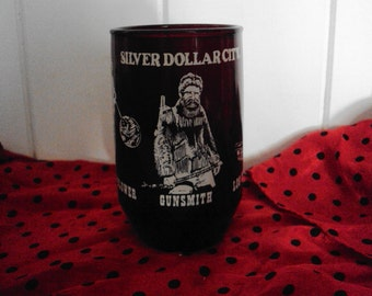 Vintage Red Glass Silver Dollar City Juice glass