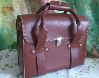 Vintage Hard Leather Camera Case or Purse whitchever You Like