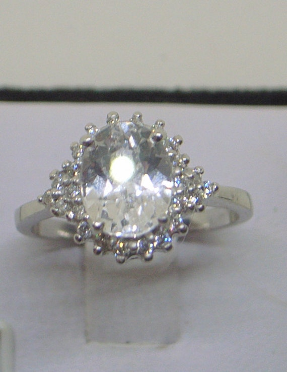 vintage white sapphire ring white sapphire solitaire