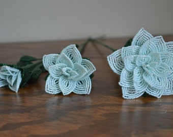 3 french beaded flowers handmade roses different sizes Baby blue opal color
