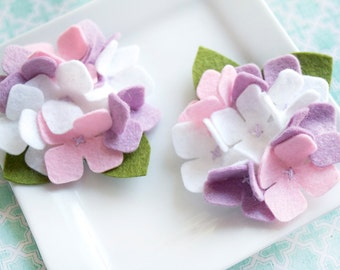 Wool Felt Flower Hydrangea Pastel Purple, White and Pink Set of Two