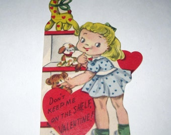 Vintage Children's Novelty Valentine Greeting Card with Little Girl and Stuffed Animals
