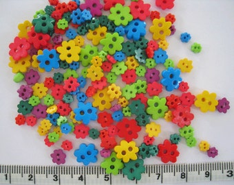 100pcs of Tiny  Flower Button -  Bright Tone yellow blue green  red lime