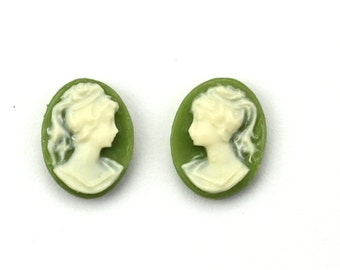 Plastic Cameos Lady Left & Right Facing 10x8mm Olive Green / Ivory (6) IC109