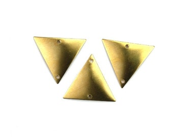 Dapped Triangle Charm or Connector Small 2 Holes Raw Brass Pendant (6) CP236
