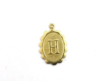 Letter H Initial Charm Scalloped Oval Raw Brass (4) CP266