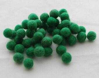1cm Felt Balls - Forest Green - Choose either 50 or 100 felt balls