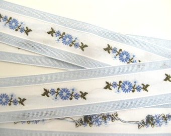 2 yards EMBROIDERED FLORAL SWAGS Jacquard  trim in blue, olive green, white on white. 1 3/8 inch wide. 990-a