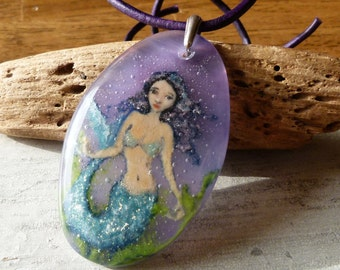Mermaid necklace - fused glass jewelry - fused glass pendant