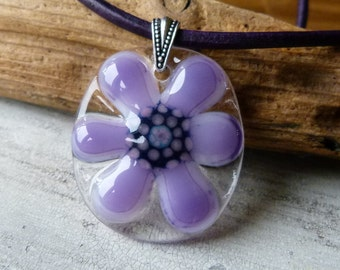 Purple Daisy necklace -  fused glass pendent - Groovy