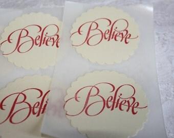 Handmade Vintage Inspired Sticker Seal - Believe - Envelope Seal