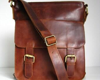 Leather Handbag Messenger Bag Brown, Vintage look