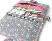 wallet women. coin purse card organizer. cute ladies floral grey pink cloth material teen girls gift idea. hipster