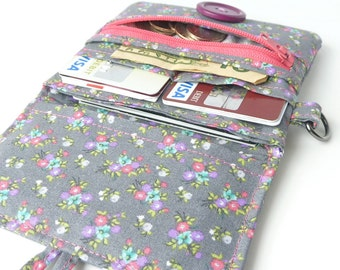 fabric coin purse card organizer. cute grey floral cloth material cotton vegan slim handmade pocketbook with coin pocket. wristlet for her